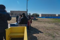 Kids and parents enjoy Choo Choo Train riding at Frost Fest event in Irving, Texas. IRVING, TX, US-JAN 26, 2019: Choo Choo train rides around the Cimarron park royalty free stock image