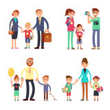 Kids and parents in happy family. Mom, dad and children vector flat characters set. Happy family man woman with boy and girl illustration vector illustration