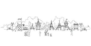Kids, parents and play ground, sketch. Collection Royalty Free Stock Photos