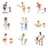 Kids with parents playing football, tennis, ping pong, riding on skateboards and rollers, working out with dumbbells and stock illustration