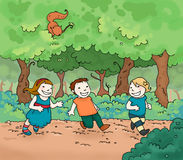 Kids in the park. Three happy kids running in the park. Digital colors Stock Photography