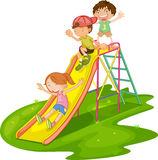 Kids at a park. Illustration of kids playing at a park Stock Image