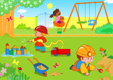 Kids at the park. A vector illustration of kids playing together at the park Royalty Free Stock Images
