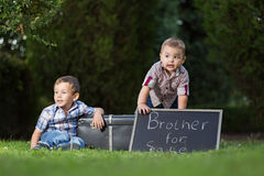 Kids in the park with sign boards for sale Stock Photos
