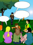 Kids in the park with speech bubble Royalty Free Stock Photo