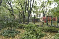 Kids park after storm Sandy Stock Photography