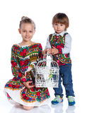 Kids with a parrot Royalty Free Stock Images