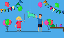 Kids party cartoon background with funny boy and girl celebrating birthday. flat vector illustration Stock Photo