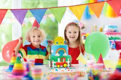 Kids party. Birthday cake with candles for child. Royalty Free Stock Images