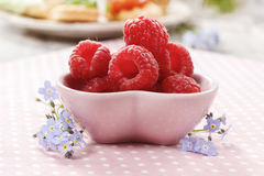 Kids party: bowl of fresh raspberries Stock Image