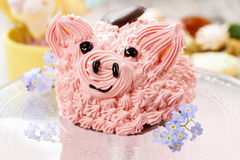 Kids party: cute pink piglet cake Stock Photo