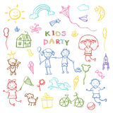Kids party doodles for the design of childrens parties. Stock Photo