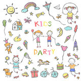 Kids party doodles for the design of childrens parties. Stock Photography