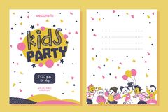 Free Kids Party Flayer Template With Happy Little Boys And Girls Characters. Royalty Free Stock Photography - 162660937