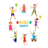 Kids Party, Funny Girls and Boys Jumping. Ghildhood Isolated. Illustration Vector Stock Photos