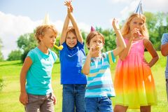 Kids on a party Stock Photos
