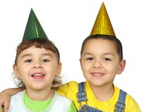 Kids with party hats Stock Photography