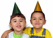 Kids with party hats Stock Photo