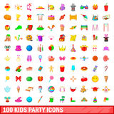 100 kids party icons set, cartoon style. 100 kids party icons set in cartoon style for any design vector illustration royalty free illustration