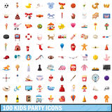 100 kids party icons set, cartoon style Stock Images