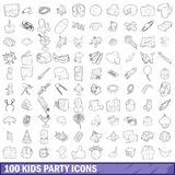 100 kids party icons set, outline style. 100 kids party icons set in outline style for any design vector illustration Stock Photography