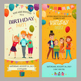 Kids Party Invitation Banners Set Royalty Free Stock Image