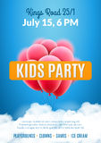 Kids party invitation design poster template. Kids fun celebration flyer Stock Images