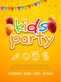 Kids party invitation design template. Child celebrating fun flyer poster banner decoration.  vector illustration