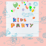 Kids party card Royalty Free Stock Photo