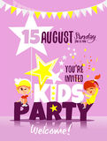 Kids party invitation template with happy children celebrating. Royalty Free Stock Image