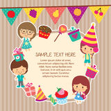 Kids party layout frame design Stock Photos