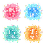 Kids party logo. Four badges for kids party in the spot shape. Stock Image