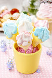 Kids party: marshmallow cake pops in yellow bucket Royalty Free Stock Image