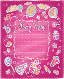 Kids party menu frame. Stock Image