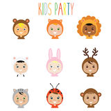 Kids party outfit. Children in animal carnival costume, vector illustration Stock Image
