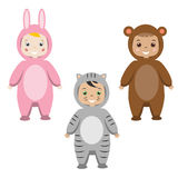 Kids Party Outfit. Children in Animal Carnival Costumes Royalty Free Stock Photo