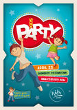 Kids Party Poster Design Template stock illustration