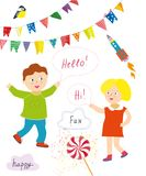 Kids party or presentation collection with funny items - bunting flags, banners, lollipops. Royalty Free Stock Photo