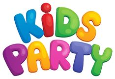 Kids party sign theme 1 Stock Photos