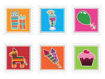 Kids party stamps Stock Photography