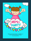 Kids Party Template, Banner, Flyer or Invitation design. Stock Photo