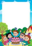 Kids party topic frame 2 Stock Photography