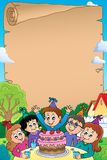 Kids party topic parchment 2 Royalty Free Stock Photo