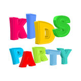 Kids party. Ttext of colored cartoon characters. Stock Photos
