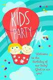 Kids party. Vector greeting card with balloon and children, flying in sky with clouds, invitation for childs party. Red and turquoise color Royalty Free Stock Photo
