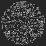 Kids party Vector illustration on blackboard Happy birthday Celebration with children Stock Image