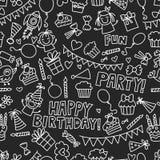 Kids party Vector illustration on blackboard Happy birthday Celebration with children Royalty Free Stock Image