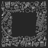 Kids party Vector illustration on blackboard Happy birthday Celebration with children Stock Photos