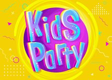 Kids Party Vector Illustration in Cartoon Style. Bright and Colorful Banner for Kids Birthday or Anniversary Party. Funny Sign for Event Decoration. Yellow stock illustration