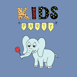 Kids Party vector lettering, party illustration with baby elephant Royalty Free Stock Photo